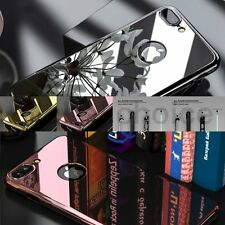 Front + Back + Temper Glass Cover Metal Mirror Bling Case For iPhone 7 6 6S Plus