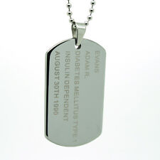 Custom Engraved Tungsten Carbide Dog Tag Pendant Free Personalization