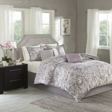 Luxury 7pc Purple & Grey Paisley Print  Comforter Set AND Decorative Pillows