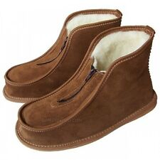 Mens Ladies Leather Slippers Shoes Zip Boots Sheep Wool US size 7 8 9 10 11 12