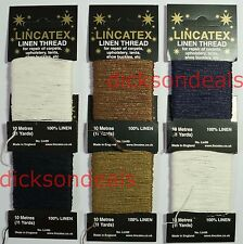 Strong 100% Linen Sewing Repair Mending Thread Leather Upholstery 10m Metre Card