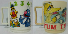 Two Vintage Sesame Street The Muppets Plastic Cups Mugs