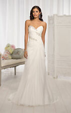 In Stock White/Ivory Strapless Chiffon Wedding Dress Bridal Gown US Size 4-22