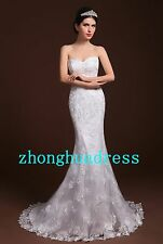 New Stock White/Ivory Appliques Lace Wedding Dress Bridal Gown US Size 4-22