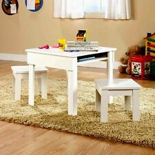 Kids Activity Table And Chairs Set Wooden White Storage Toddler Play Furniture