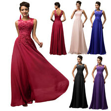 Lace Applique Long Maxi Wedding Bridesmaid Dress Evening Gown Formal Party Prom