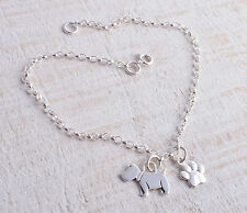 STERLING SILVER SCOTTIE DOG & PAW PRINT PAWPRINT CHARM CHAIN BRACELET 925