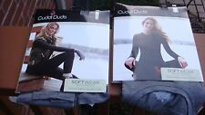 NIP Cuddl Duds Crew Top & Leggings Set (2 pc) Softwear w/Stretch Black,Gray Sz S