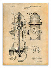 1903 Fire Hydrant Patent Print Art Drawing Poster 18X24