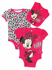 "Disney Newborn/Infant Girls Minnie Mouse ""Cute"" 3 Piece With  Bib Set"
