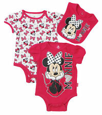 "Disney Newborn/Infant Girls Minnie Mouse ""Minnie"" 3 Piece With  Bib Set"