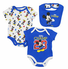 "Disney Mickey Mouse Newborn Infants ""Little Champ"" 3 Piece  Set with  Bib"