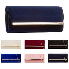 HCUK Ladies Designer Beline Velvet Envelope Evening Clutch Bag Handbag KH717