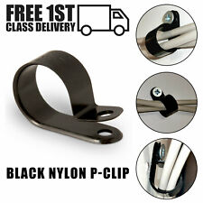 NYLON BLACK PLASTIC P CLIP CLAMPS FASTENING CABLE CONDUIT TUBING SLEEVING HOSE