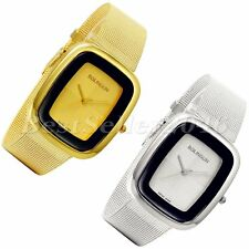 Womens Mens Stainless Steel Square Dial Mesh Belt Analog Quartz Wrist Watch Gift