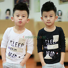 Fashion Kids Toddlers Boys Letter 100% Cotton Long sleeve Tops T-Shirt Shirt New