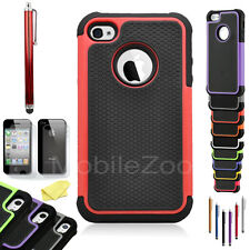 Hybrid Rugged Rubber Matte Hard Case Cover Skin for Apple iPhone 4 4S