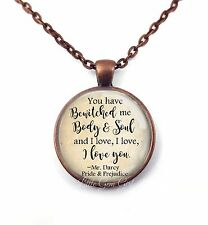 Jane Austen Book Necklace or Key Chain You have bewitched me Mr. Darcy Quote