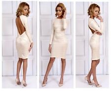 Designer Sarvin Cream Backless Cut-out Lace Pencil Dress Ladies Sz 6 8 10 12 14