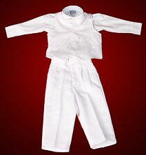 4 Piece White Christening Baptism Vest Suit for Infant/Baby Boys - Sizes 00 0 1