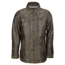 Mens Soft Real Leather Vintage Brown Smart Casual Collar Classic Zip Box Jacket