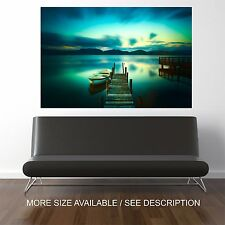 Wall Art Canvas Print Picture Wooden pier lake sunset sky water   -Unframed