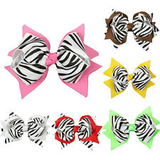 1pcs Girls Baby Hair Bows Clips Zebra Grosgrain Ribbon 6 Colors Hair Accessorie