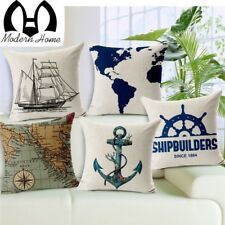 Nautical Anchor Sailor Sailing Map Cotton Cushion Sofa Piaochuang Pad Home Decor