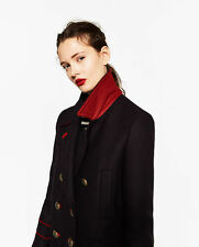 ZARA NAVY BLUE RED WOOL MILITARY STYLE COAT GOLD BUTTONS JACKET BLOGGERS FAV