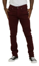 Skinny Fit Mens Jeans - Red wine Slim fit Jeans Dungarees with stretch Mens Pant