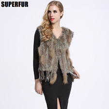 Winter Womens Natural Rabbit Fur Vest Knitted Fur Gilet Waistcoat tassel V0003