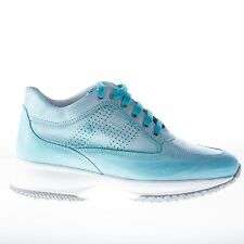 HOGAN women shoes Interactive turquoise washed leather sneaker