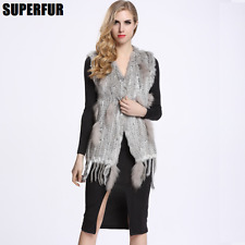 Real Knitted Rabbit Fur Vest With Raccoon Fur Hook Women Waistcoat Gilet  V0019