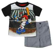 "Disney Infant Boys Mickey Mouse ""Home Run King"" 2 Piece Short Set"