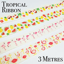 ✧ MANY DESIGNS ✧ Tropical Themed Cotton Ribbons ✧ Party Lounge ✧ 3 Metres ✧