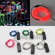 2M Flexible Electroluminescent Tape EL Wire Glow Light With 3V Battery Inverter