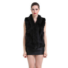 New Real Knitted Rabbit Fur Vest Gilet Jacket Raccoon Collar Women Waistcoat