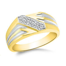 1/10 CT CZ MENS CLUSTER RING Wedding 10k Solid Yellow Gold