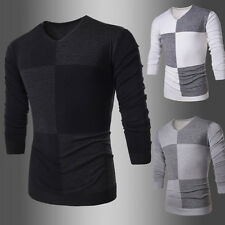 Mens Fashion Pullover Casual Sweater Long Sleeve Slim Fit V-neck Knit Tops fh44