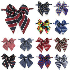Women Lady Girl Pre-tied Satin Bowtie School Student Stripe Polka Dot Tie
