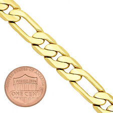 9.3mm 14k Gold Plated Flat Figaro Link Chain