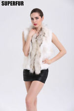 100% Real Knitted Rabbit Fur Waistcoat Vest Coat Women Raccoon Fur Collar Gilet