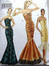 VOGUE V8190 MISSES' EVENING, PROM MERMAID FLOUNCE DRESS SEWING PATTERN SIZE 8-18