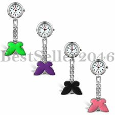 New Butterfly Nurse Watch Brooch Tunic Fob Clip-on Quartz Pocket Watch Fobwatch