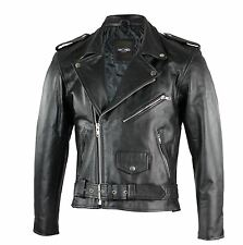 Mens Real Leather Black Classic Motorcycle Biker Vintage Zipped Jacket 36 to 54