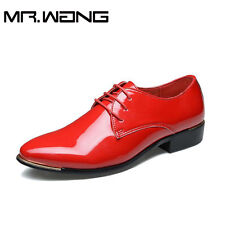 mens patent leather shoes men dress shoes lace up Pointed toe flats wedding shoe
