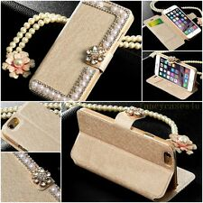 Luxury Bling Pearl Bowknot Crystal Diamond Wallet Flip Case Cover For iPhone