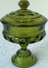 INDIANA GLASS Kings Crown Thumbprint Green Covered Pedestal Candy Compote 1960's