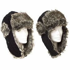 Trapper/Aviator Hat Plain Knitted With Ear Flap Purse Lock Buckle