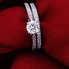 2pc 925 Sliver Plated Cubic Zirconia Crystal Ring Set Engagement Wedding Sz 6-9